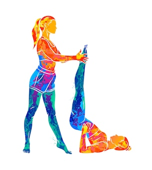 추상 트레이너는 젊은 여성이 요가 또는 필라테스를 할 수 있도록 돕고 수채화 스플래시에서 운동을합니다.