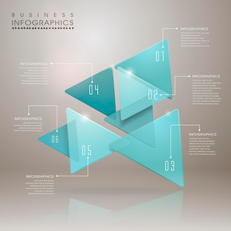 Abstract translucent geometric arrow infographic elements template