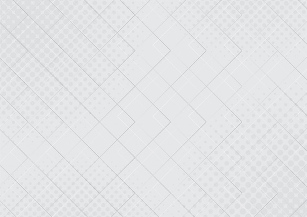 Abstract translucent geometrical with halftone effect white and gray gradient color background.