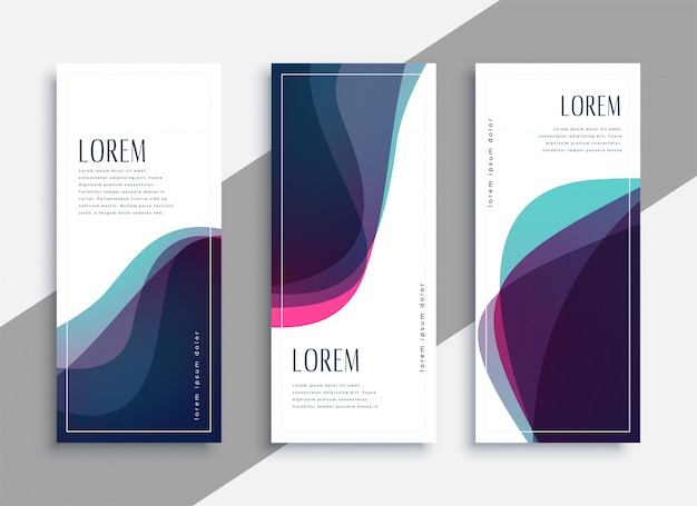 Abstract transparent curve shapes banner set