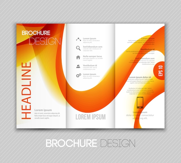 Abstract transparent fractal wave template brochure design