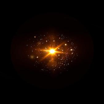抽象的な透明な太陽光の特別なレンズフレアライト効果。ブレインモーショングローグレア。孤立した透明な背景。装飾要素。水平方向のスターバースト光線とスポットライト。