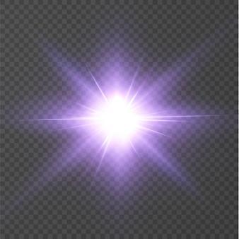 抽象的な透明な太陽ピンクの光の特別なレンズフレアライト効果。