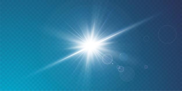 抽象的な透明な日光の特別なレンズフレアライト効果、動きのぼやけグレア。孤立した透明な背景。装飾要素。水平スターバースト光線とスポットライト。