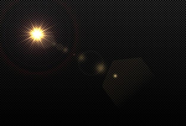 Абстрактный прозрачный солнечный свет специальные линзы бликов световой эффект. размытие в движении свечение блики. изолированный прозрачный фон. элемент декора. горизонтальные звезды взорвали лучи и прожектора.