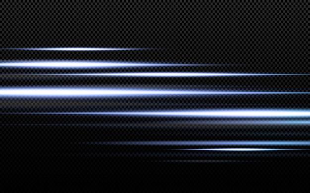 抽象的な透明な日光の特別なレンズフレアの光の効果。モーションブラーのまぶしさをぼかします。孤立した透明な背景。装飾要素。水平スターバースト光線とスポットライト。