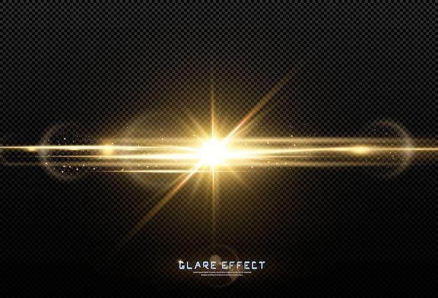 抽象的な透明な日光の特別なレンズフレアの光の効果。モーションブラーの動きでぼかします。孤立した透明な背景。水平スターバースト光線とスポットライト。