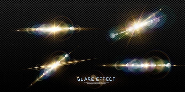 Abstract transparent sunlight special lens flare light effect. blur in motion glow glare. isolated transparent background. horizontal star burst rays and spotlight.