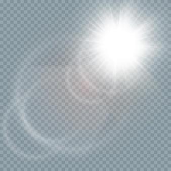 抽象的な透明な日光の特別なレンズフレアライト効果。グローグレア。