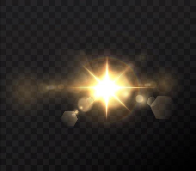 抽象的な透明な日光の特別なレンズフレアライト効果。