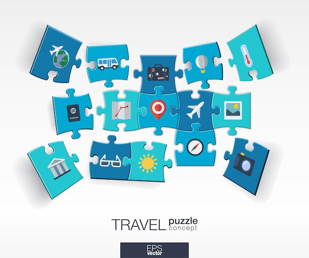 Abstract travel background with connected color puzzles, integrated  icons.  infographic concept with airplan, luggage, summer, tourism pieces in perspective.  interactive illustration.