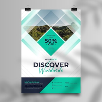 Abstract travel sale flyer template with photo