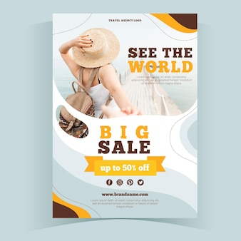 Abstract travel sale flyer template