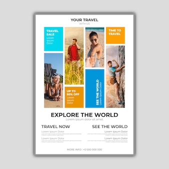 Abstract traveling sale flyer template with photo