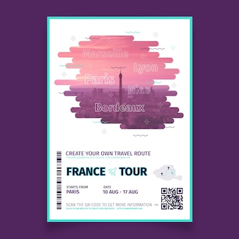Abstract travelling poster with photo of france