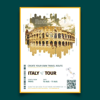 Abstract travelling poster with photo of italy