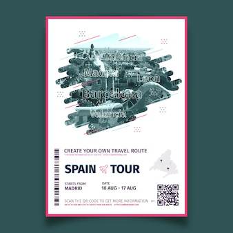 Abstract travelling poster with photo of spain