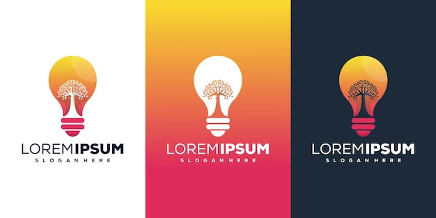 Abstract tree and bulb logo template