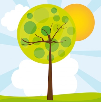 Abstract tree over green landscape vector illustration