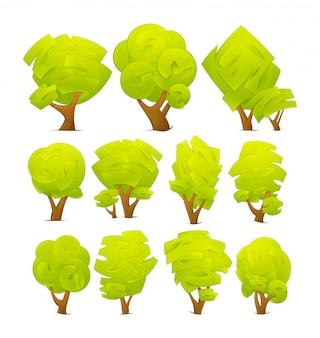 초록 나무 흰색 배경에 고립입니다.