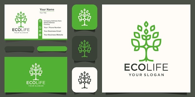 Abstract tree logo and business card design vector.