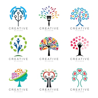 Abstract tree logo collection, set of tree logo