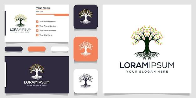 抽象的な木のロゴのテンプレート名刺