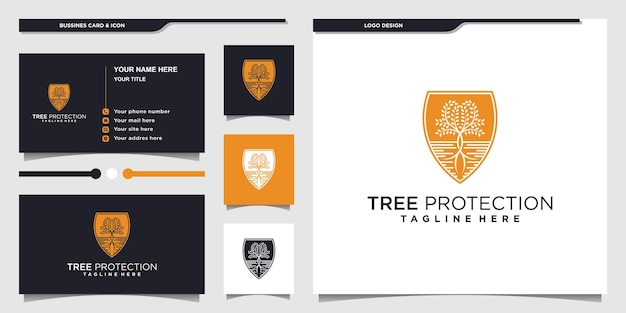 Abstract tree protection logo design with unique negative space colors premium vektor