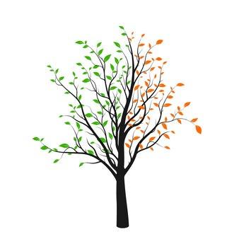 緑と赤の葉が白い背景で隔離の抽象的な木のシルエット。鮮やかな木のロゴ。ベクトルイラスト