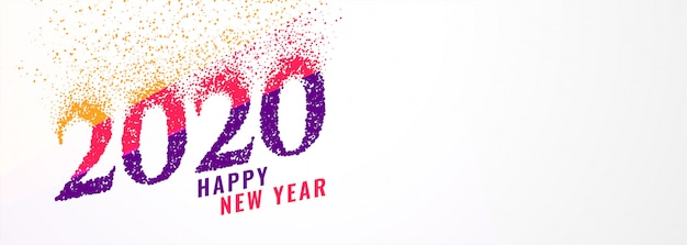 Abstract trendy 2020 new year banner with sparkles