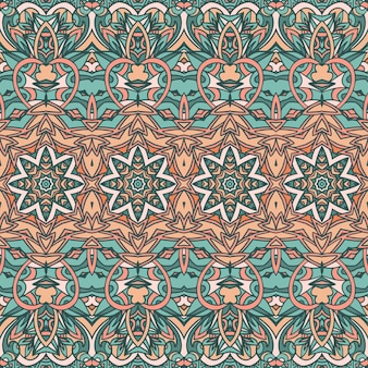 Abstract trendy colours. ethnic seamless pattern flowers and stars ornament.