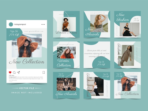 Abstract trendy fashion sale instagram post template