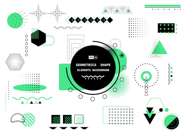 Abstract trendy geometric design of black and green memphis style