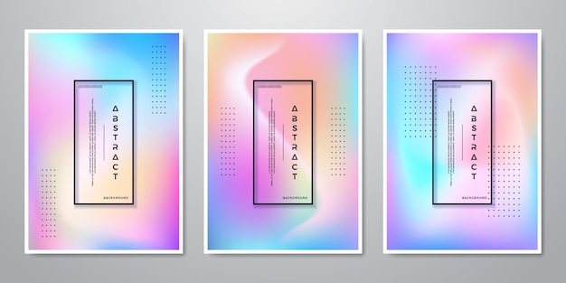 Abstract trendy gradient shapes holographic backgrounds