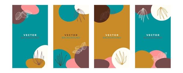 꽃, 잎, 유기농, 손으로 그린, 선이 있는 추상적이고 세련된 보편적인 예술적 배경 템플릿. 표지, 초대장, 배너, 현수막, 브로셔, 포스터, 카드, 전단지 및 기타에 적합합니다.