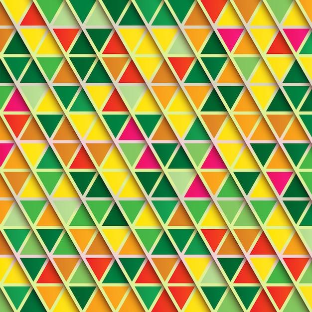 抽象的な三角形の背景、暖かい色の多色パターン