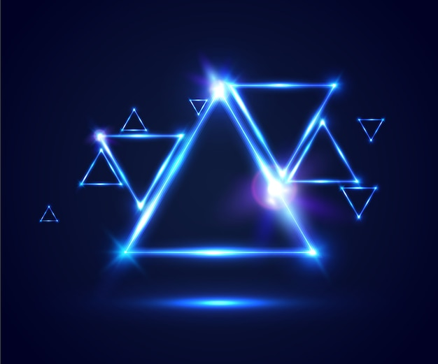 Abstract triangle background with bokeh and flares.  illustration for party posters.