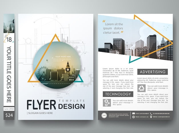 Abstract triangle on cover book portfolio in layout design