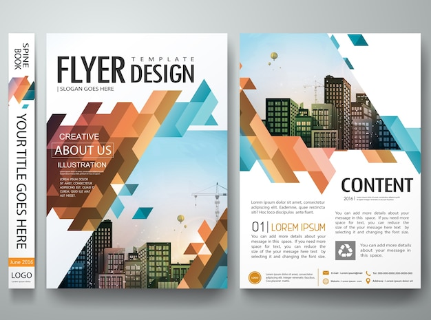 Abstract triangle cover book portfolio presentation design layout.
