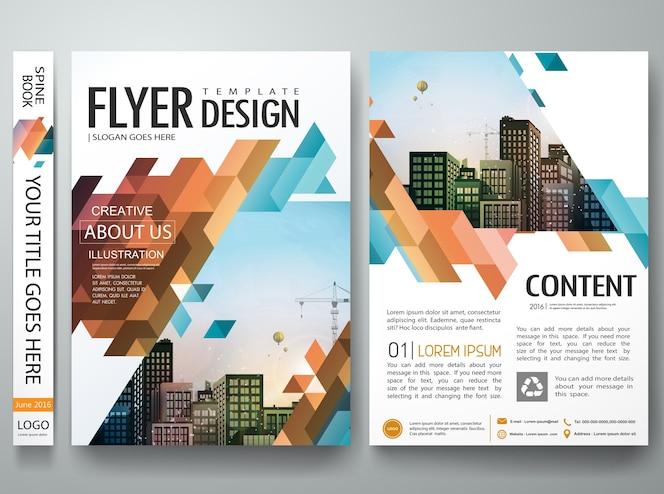 Abstract triangle cover book portfolio presentation design layout.