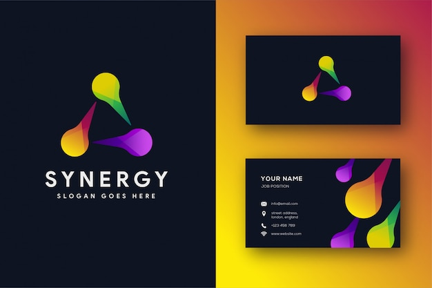 Abstract triangle logo and business card