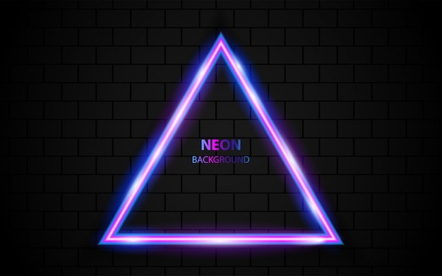 Abstract triangle neon light frame on dark background