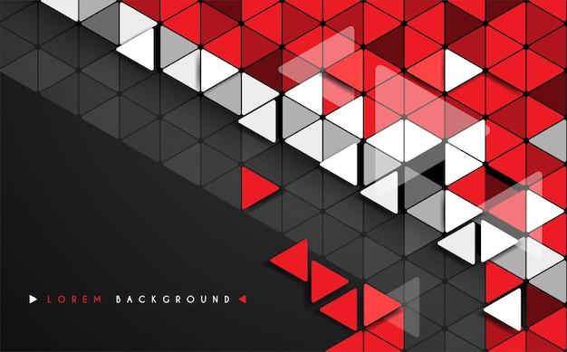 抽象的な三角形赤白と黒の背景