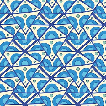 Abstract triangle seamless pattern, vector illustration. blue doodle rhombus seamless background.