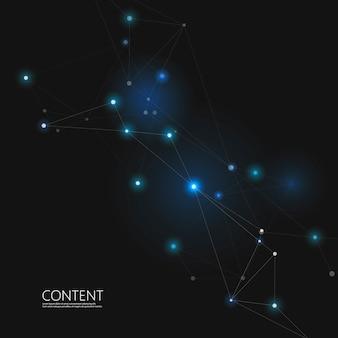 抽象的な三角形の構造。点と線を接続したネットワーク設計。暗い空間の背景