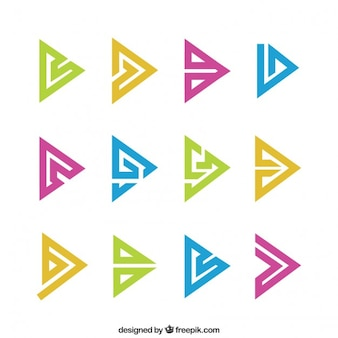 Abstract triangle symbols in colors pack