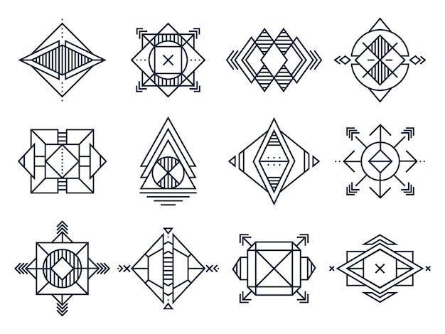 Abstract triangles art, jewelry geometric shape and line cosmic star