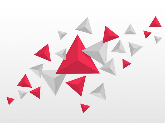 Abstract triangles elements in red and grey colors, flying polygonal geometric shapes background.