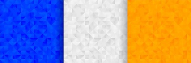 3色の抽象的な三角形パターン背景デザイン