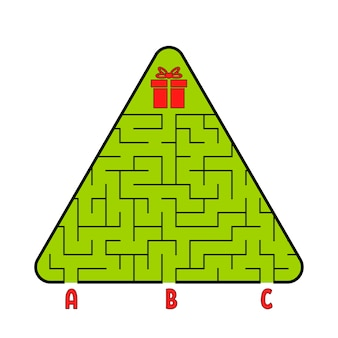 Abstract triangular labyrinth. christmas tree with a gift. find the right path.